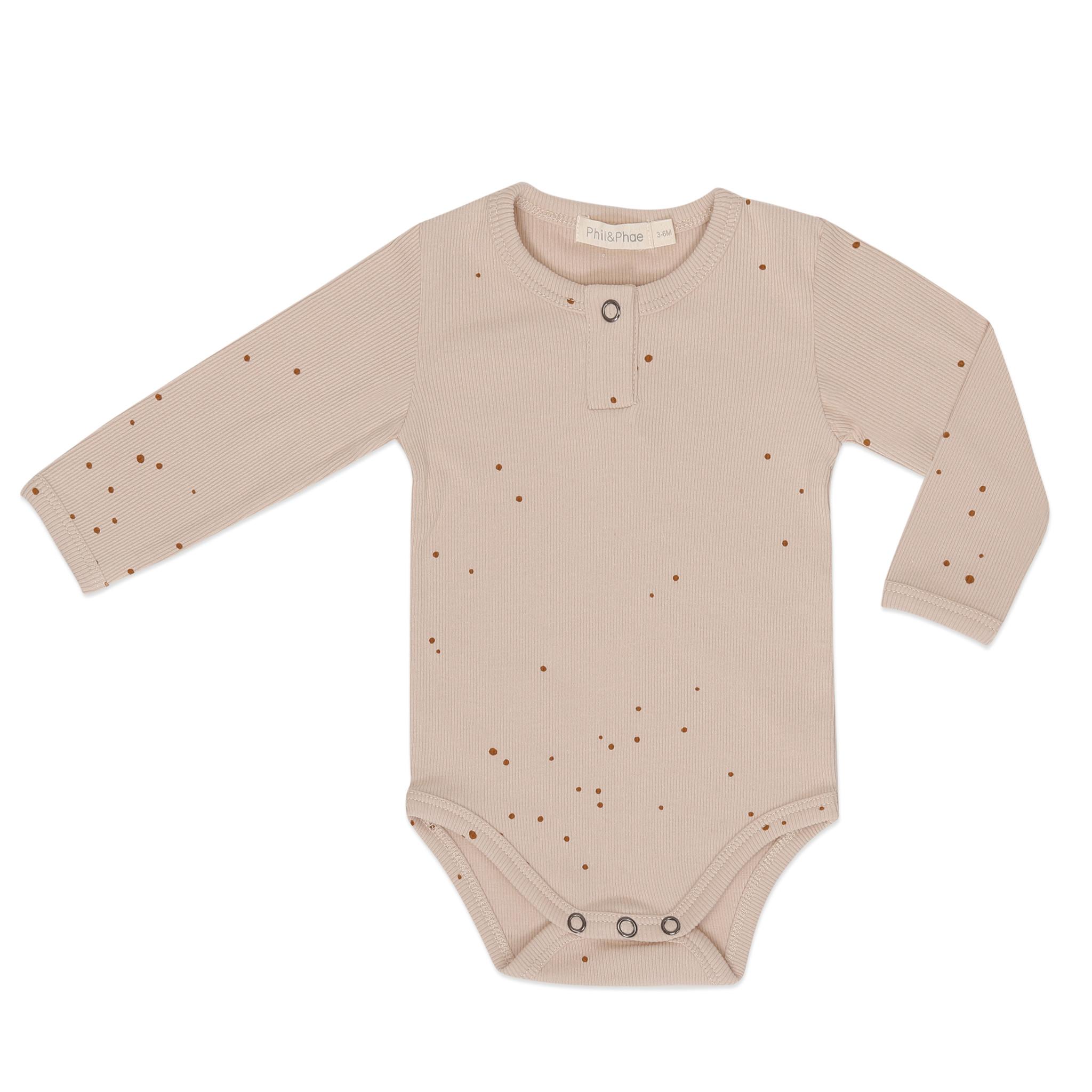 Rib henley body l/s dots - warm cream-1
