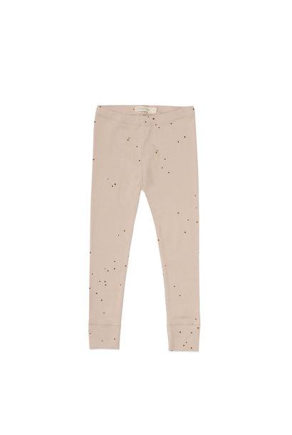Rib leggings dots - warm cream