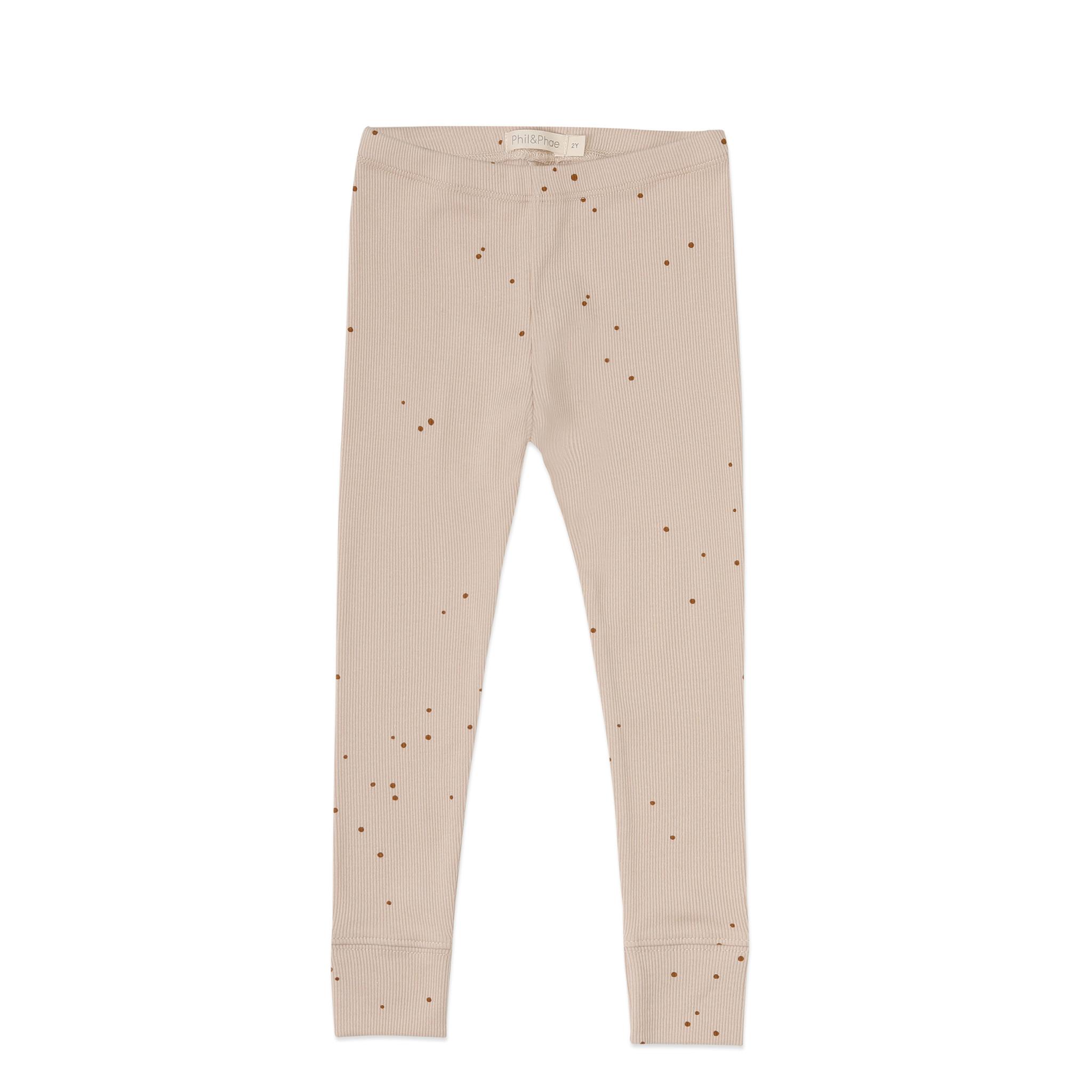 Rib leggings dots - warm cream-1