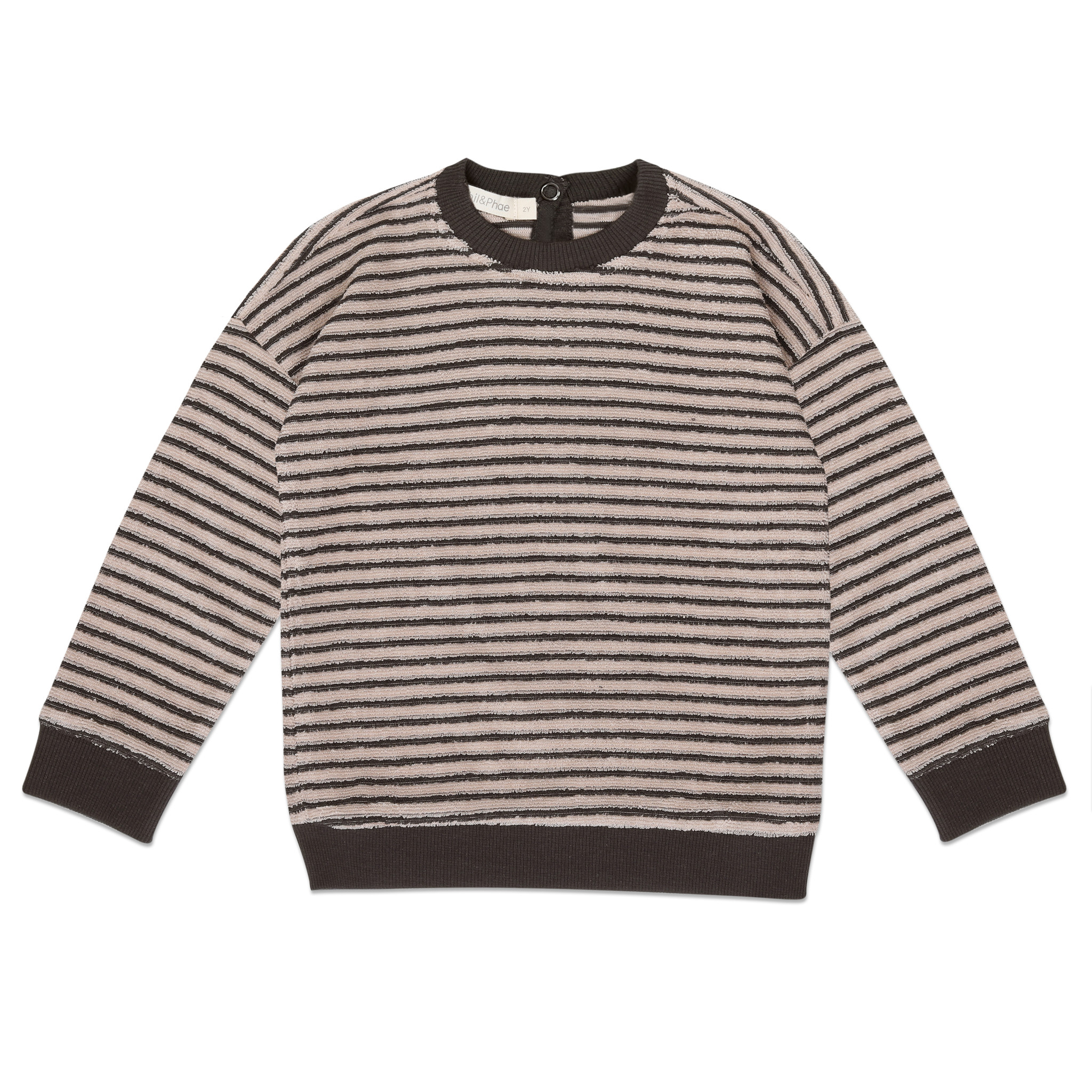 Baby sweater loopy stripes - Graphite-1