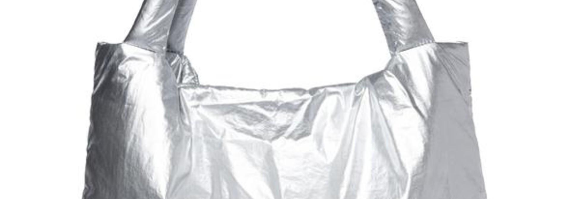 Silver puffy mom-bag