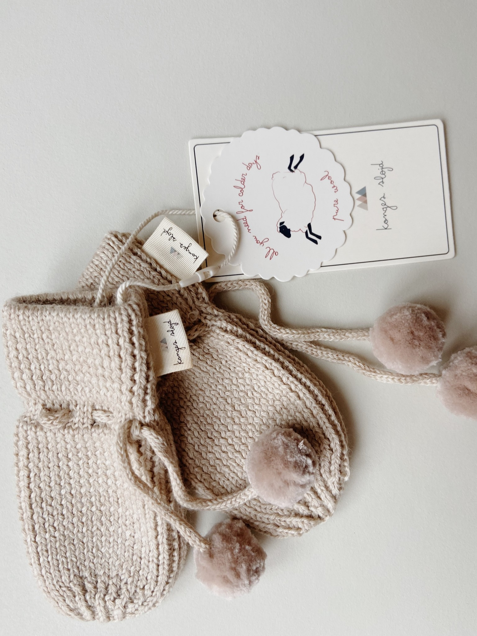 Miro knit mittens - White cream melange-2
