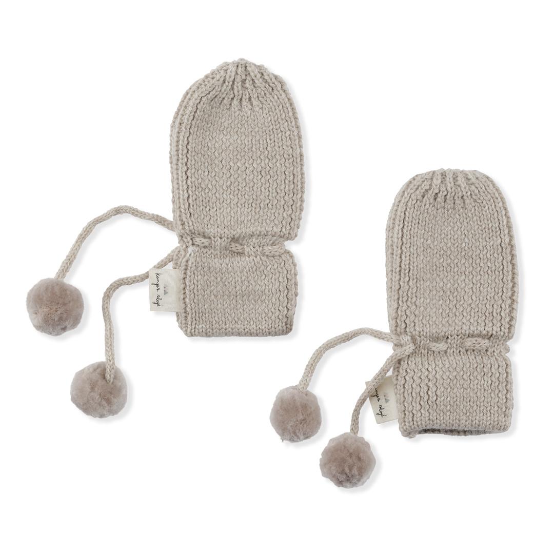 Miro knit mittens - White cream melange-1