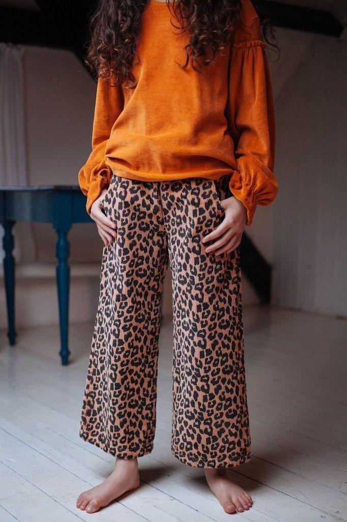 Bella  leopard corduroy pants  hazel-2