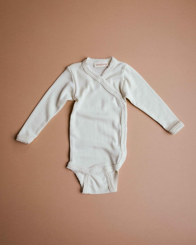 Wrap around baby body - naturel crochet edge-1
