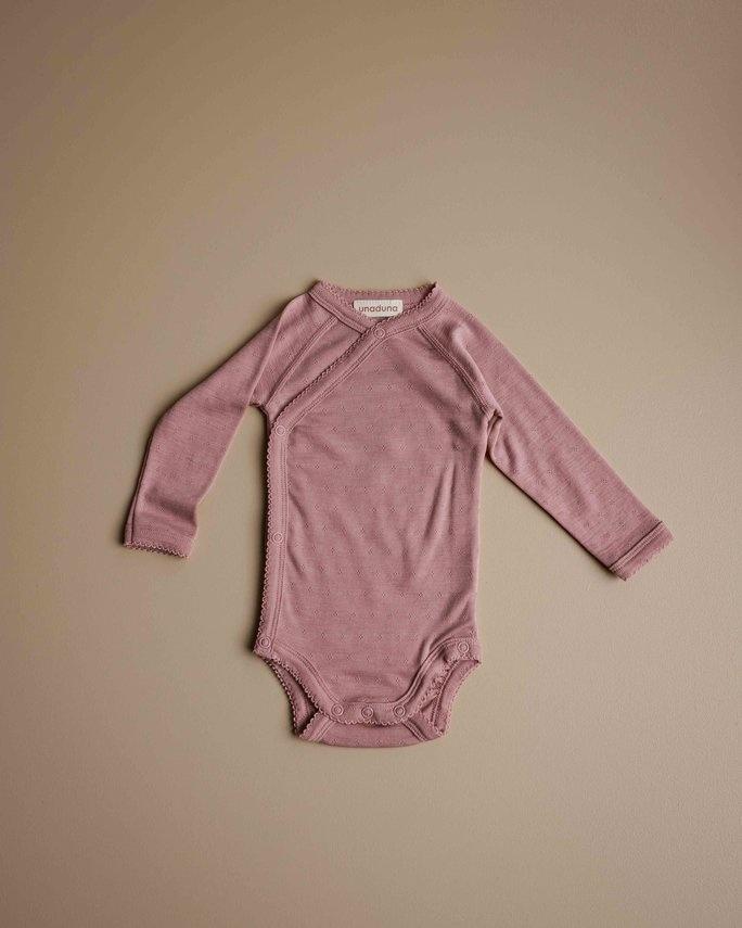 Wrap around baby body - pointelle cameo rose-1