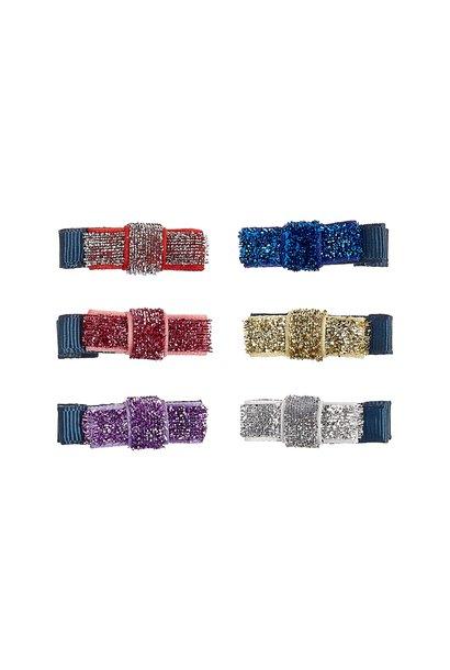 Mini Sparkle Ribbon Bow Clips
