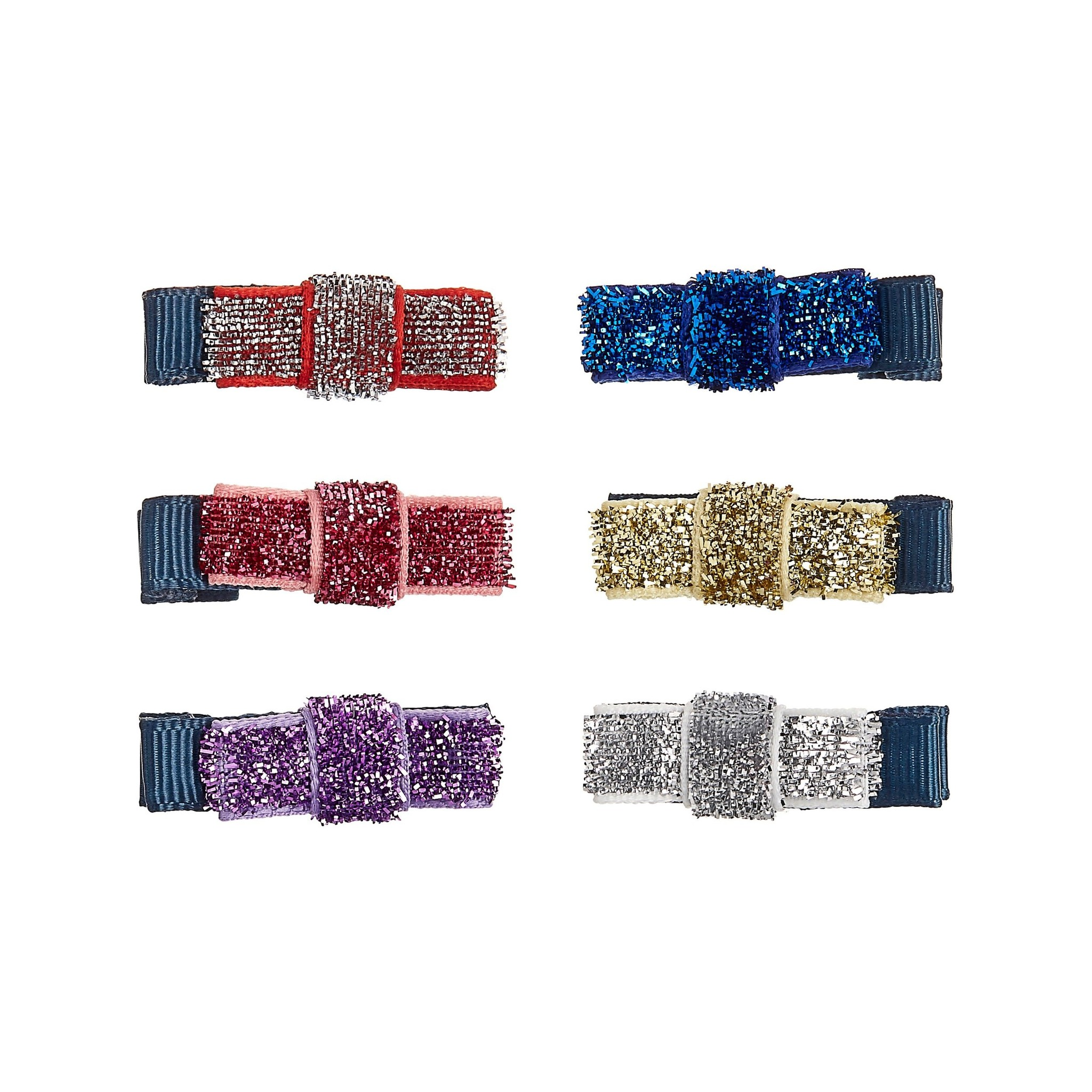 Mini Sparkle Ribbon Bow Clips-1