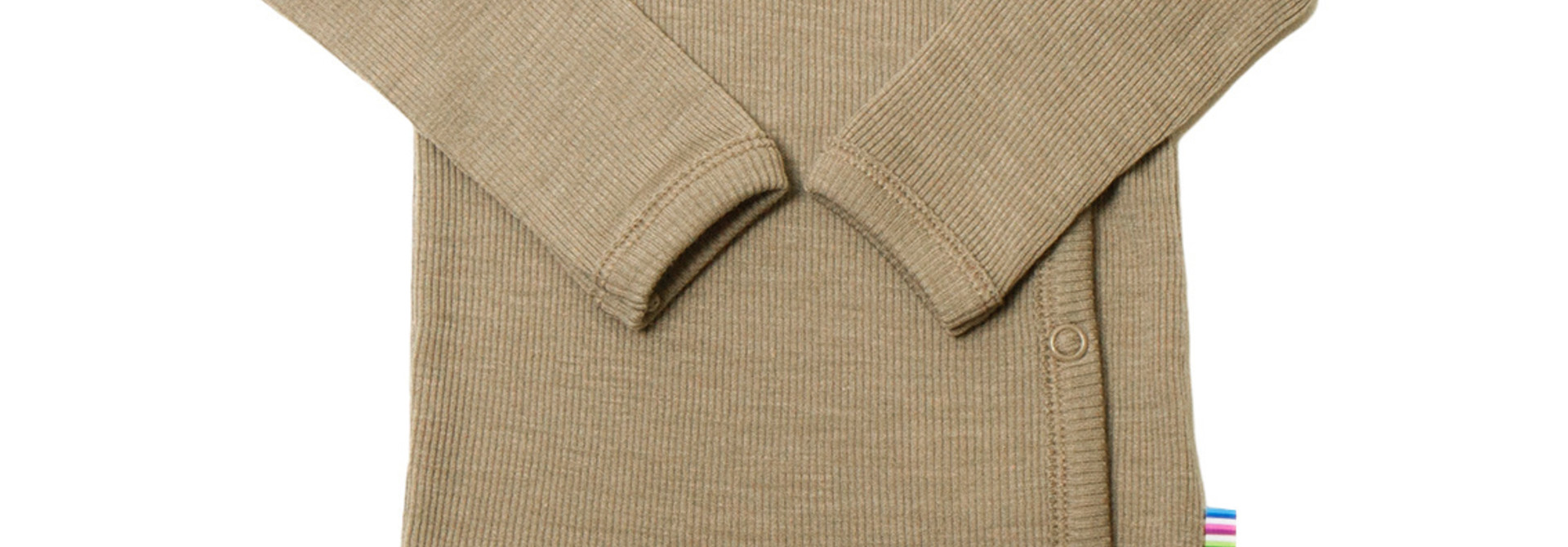 Romper overslag lange mouwen - wol-zijde - Beige