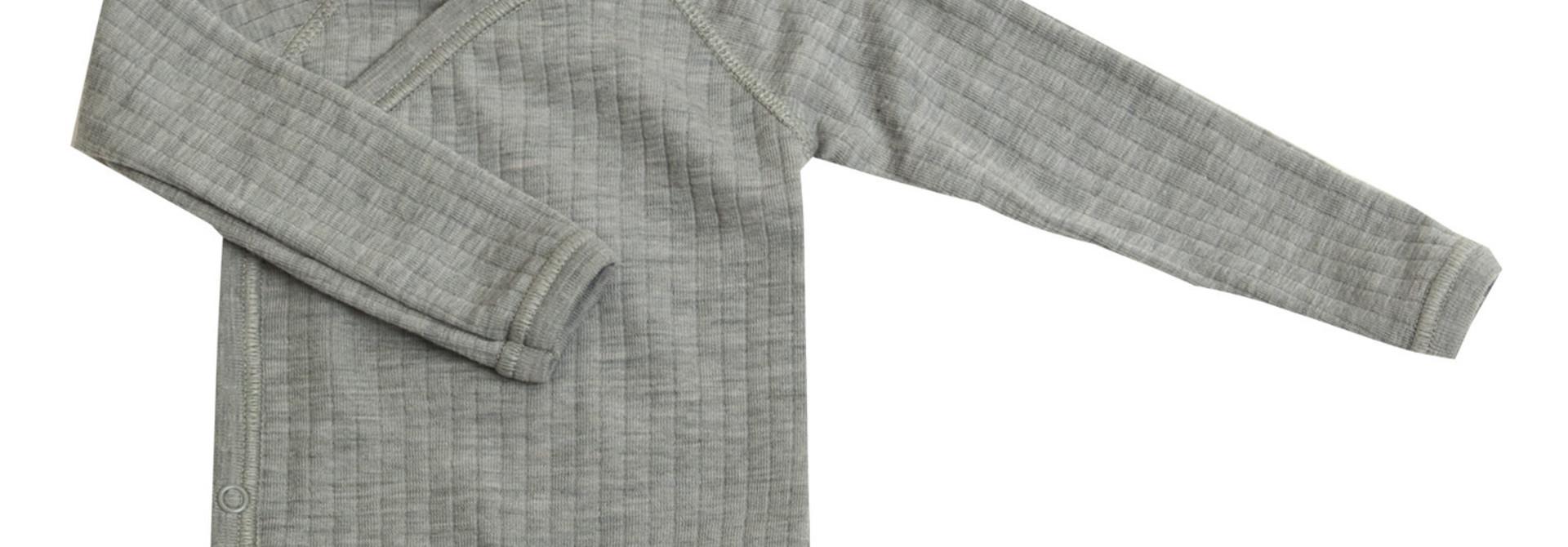 Romper overslag lange mouwen - merino wol - Light Grey Melange