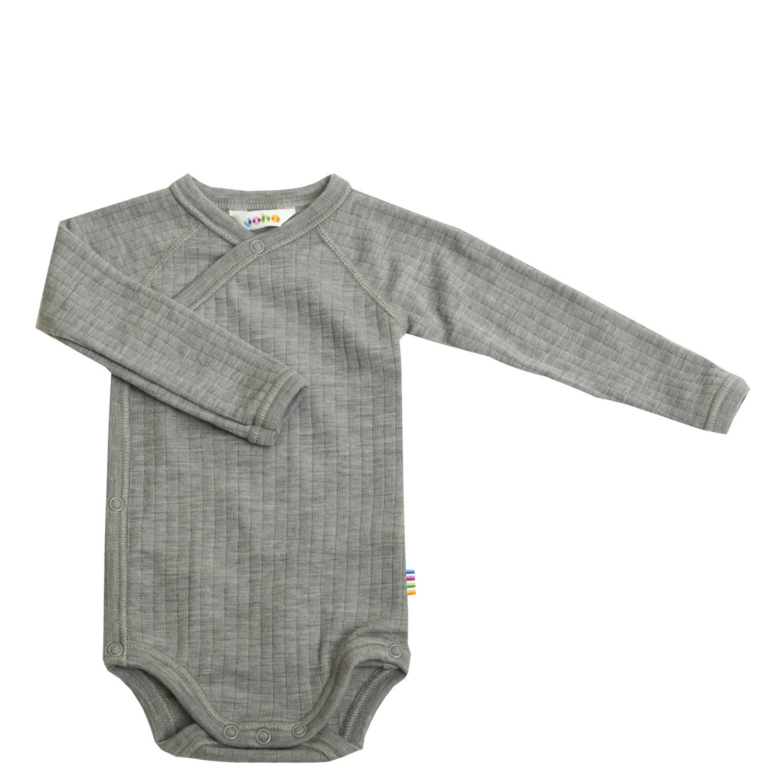 Romper overslag lange mouwen - merino wol - Light Grey Melange-1