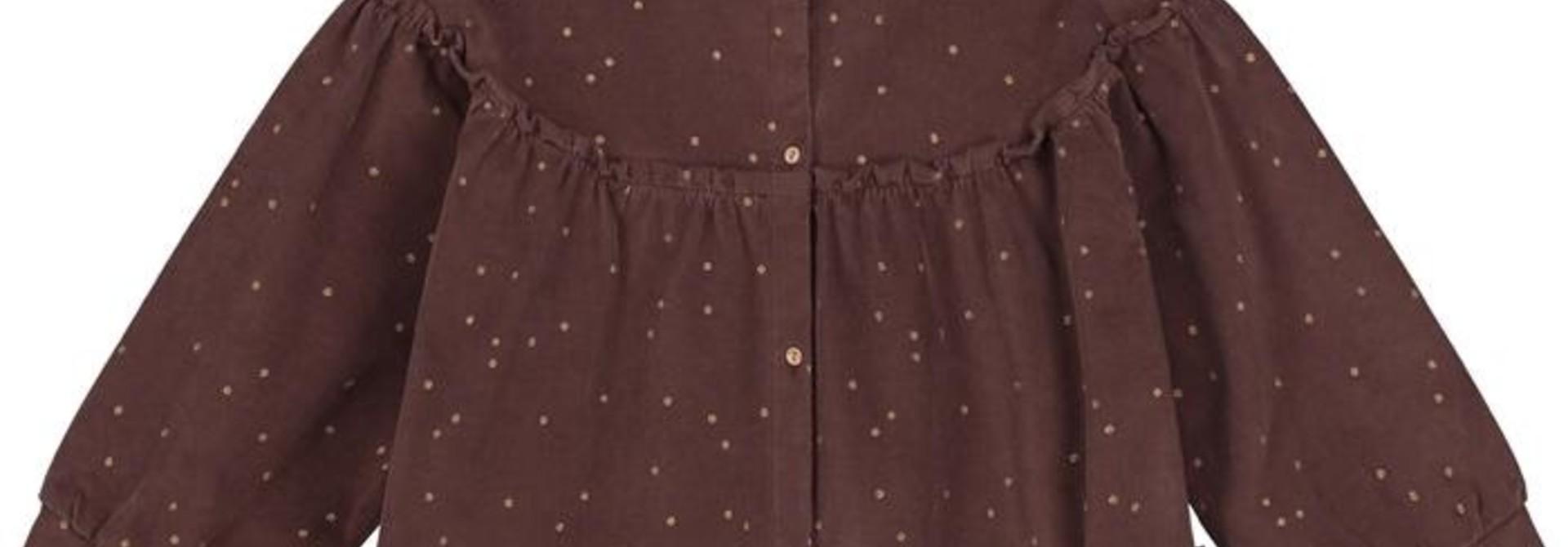 Tara corduroy top glitter dots brown
