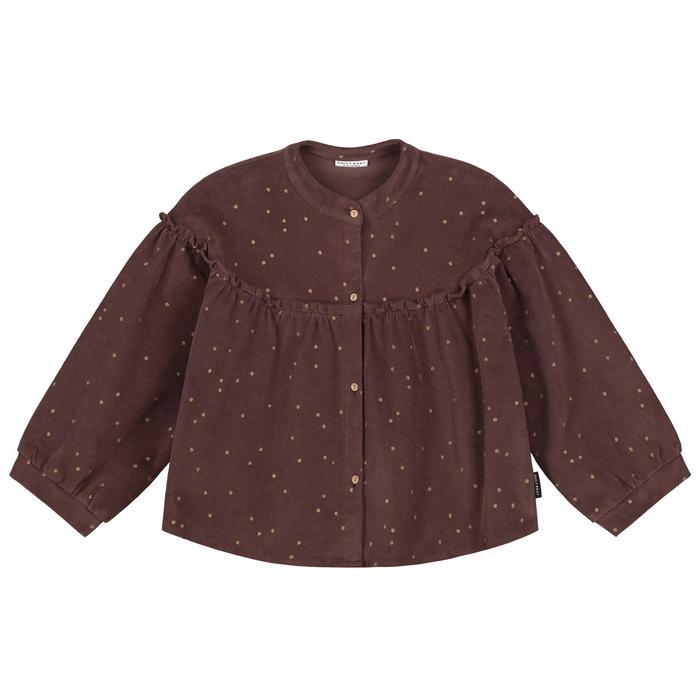 Tara corduroy top glitter dots brown-1