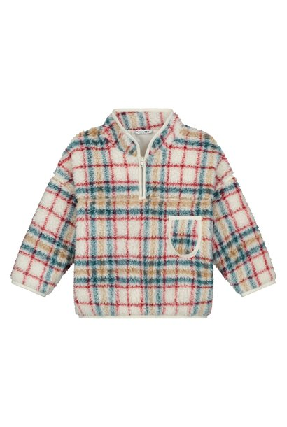 Frizzy Teddy Checked Pullover White