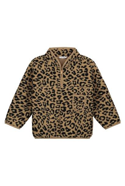 Fuzzy Teddy Leopard Pullover camel