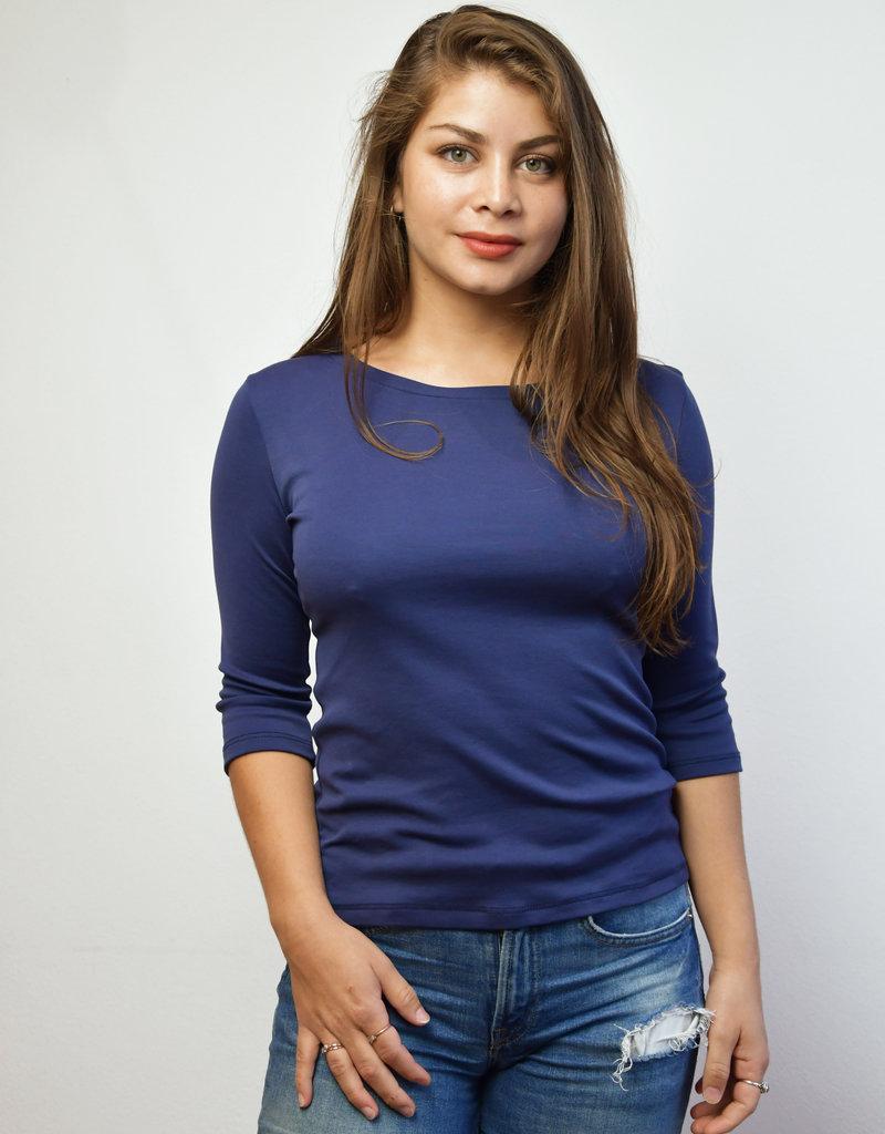Khipu Navy Basic 3/4 Sleeve Shirt
