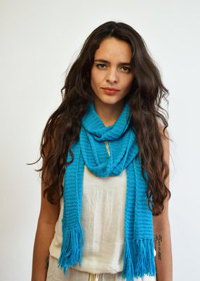 Khipu Light Petrol Blue Shawl