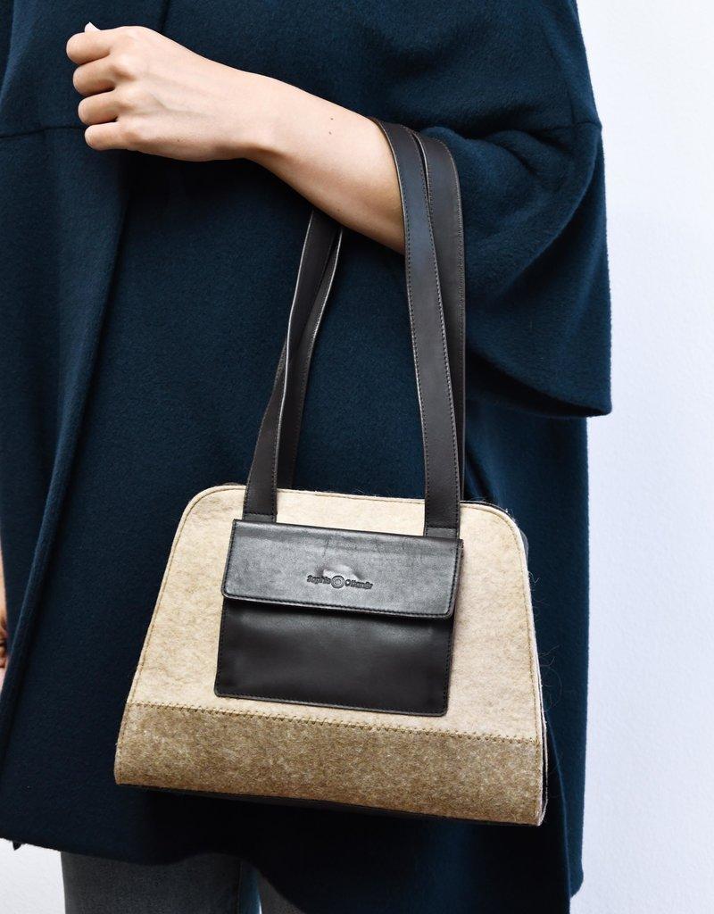 Sophie Ottaner Leather and Felt Hand Bag