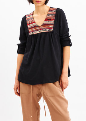 Saya Black and Red Cotton Top