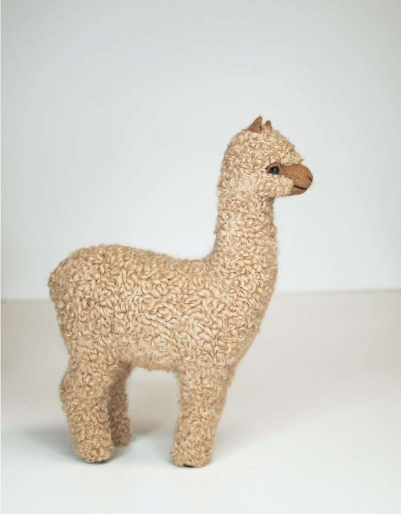Tall Beige Alpaca Stuffed Animal Standing
