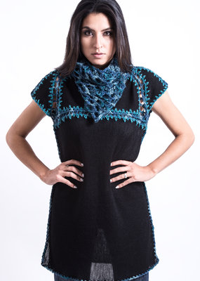 Knitted Tunic Dress - Black