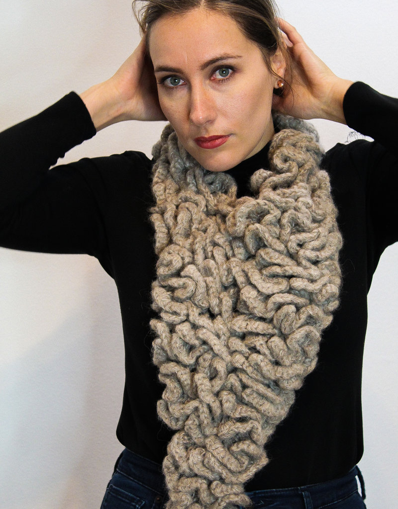 Beige Triangle Knitted Cowl