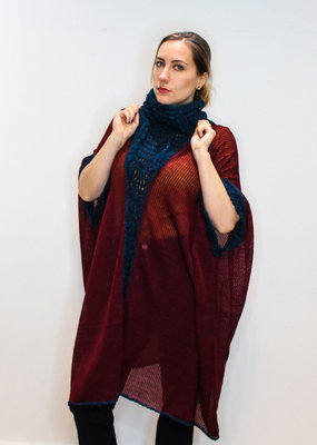 Knitted Poncho with Long Neck