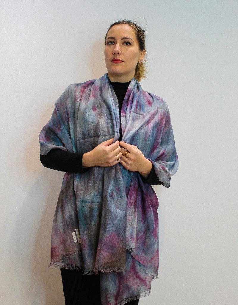 Blue & Purple Regina Royal Baby Alpaca and Silk Shawl