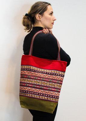 Khipu Red & Green Woven Bag
