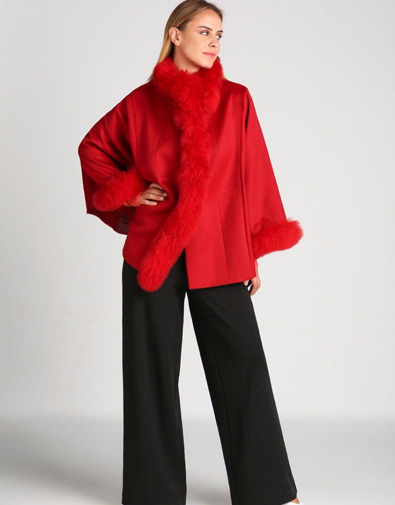 Red Baby Alpaca Cape with Hair