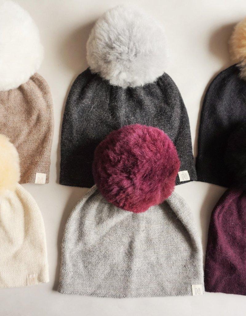 Norgäte Light Brown/White Fur Pompom Baby Alpaca Beanie