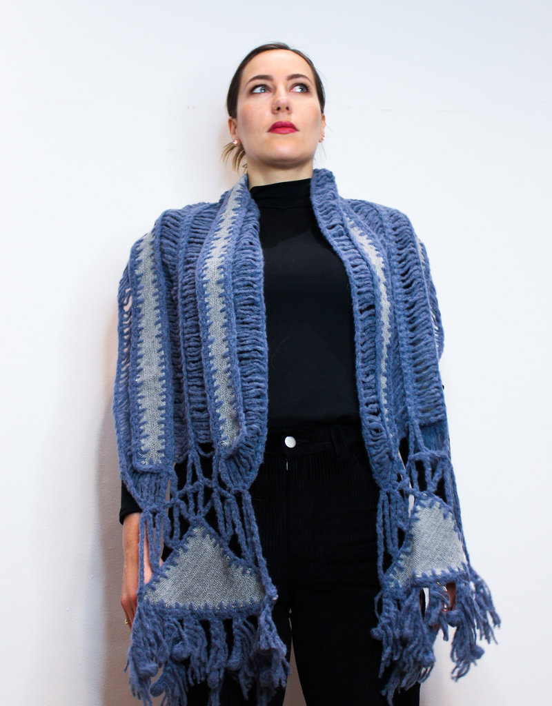 Silver Blue Baby Alpaca Knitted Scarf