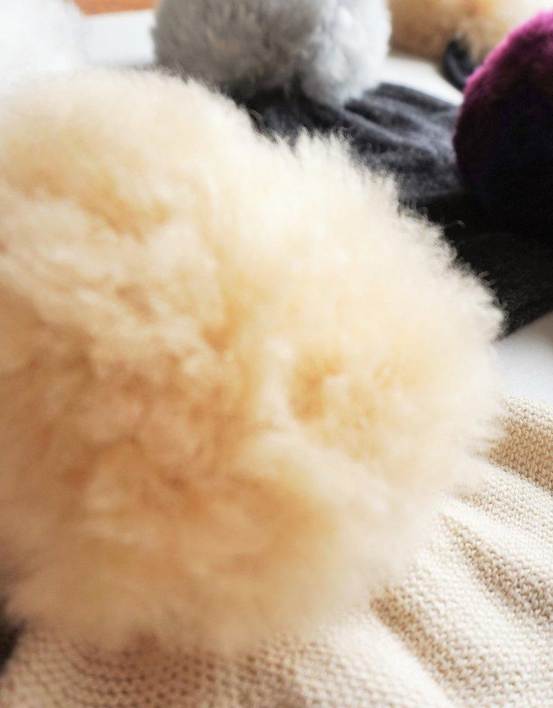 Norgäte Brown/Beige Pompom Baby Alpaca Beanie