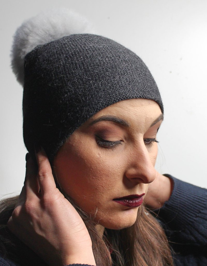 Norgäte Grey/Light Grey Fur Pompom Baby Alpaca Beanie
