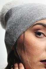Norgäte Light Grey Fur Pompom Baby Alpaca Beanie
