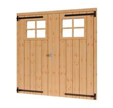 Douglas opgeklampte deur dubbel 199x202cm met raam excl h&s