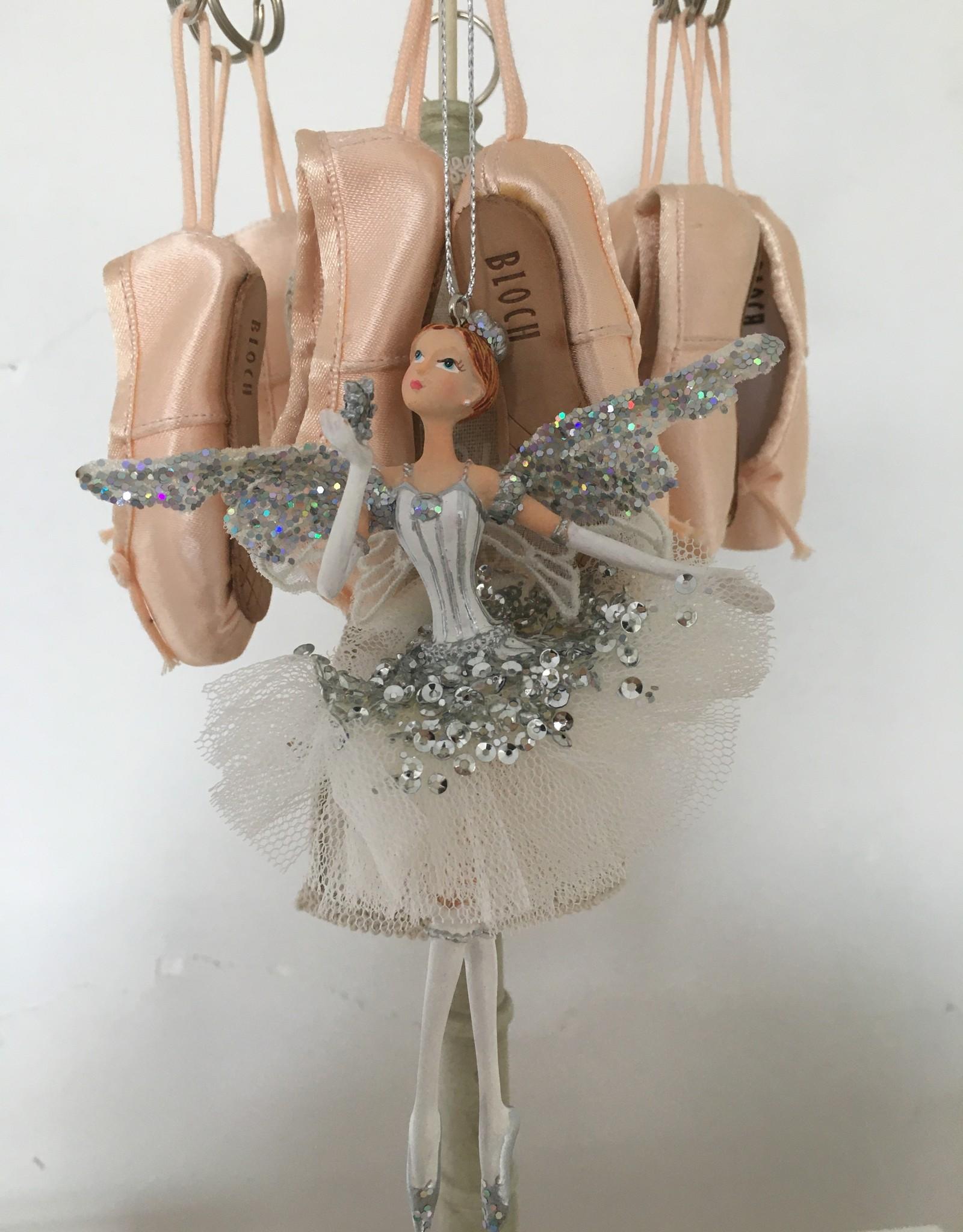 Goodwill Goodwill porseleinen ballerina hanger zilver en wit met vleugeltjes