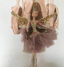 Goodwill Goodwill porseleinen ballerina hanger met vleugels goud en kleur
