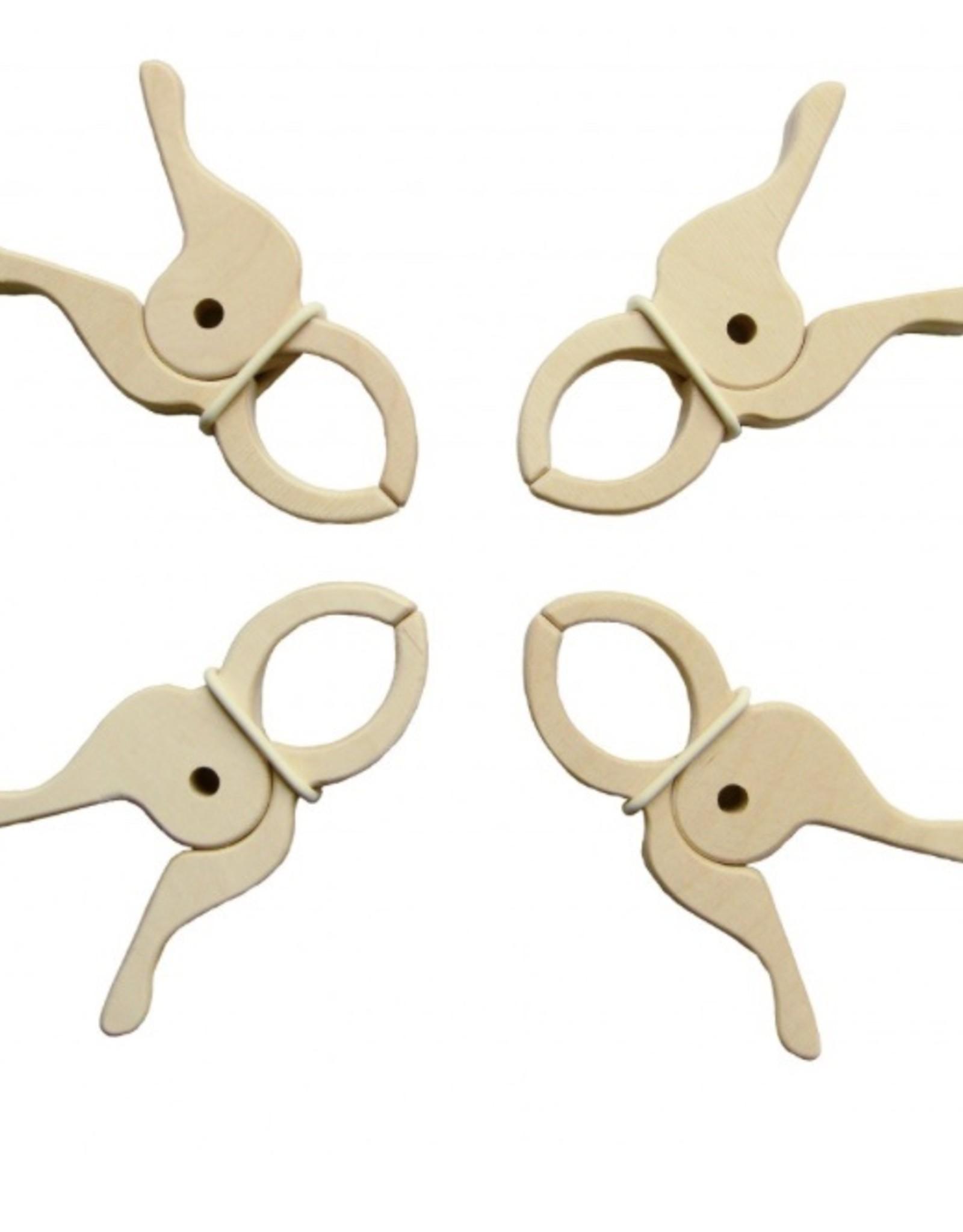 Speelbelovend 4 grote houten knijpers / wasknijper / reuzen houten knijper speelbelovend