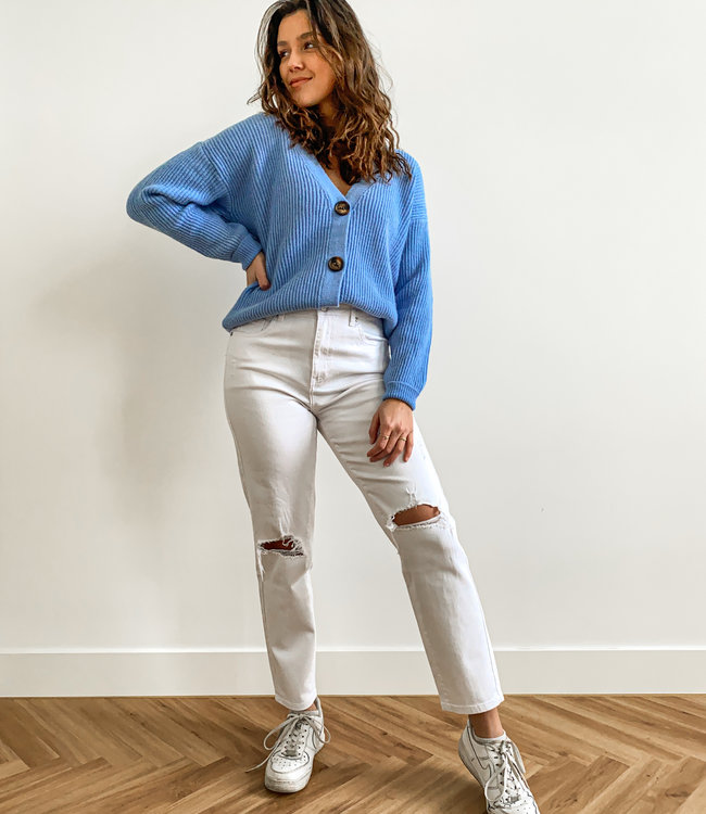 Ripped mom jeans white
