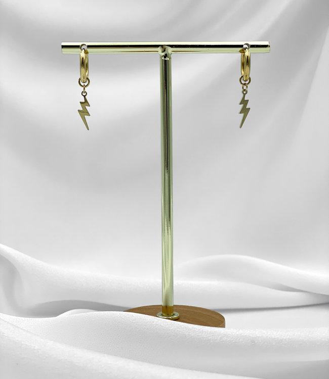 Lightning earrings gold