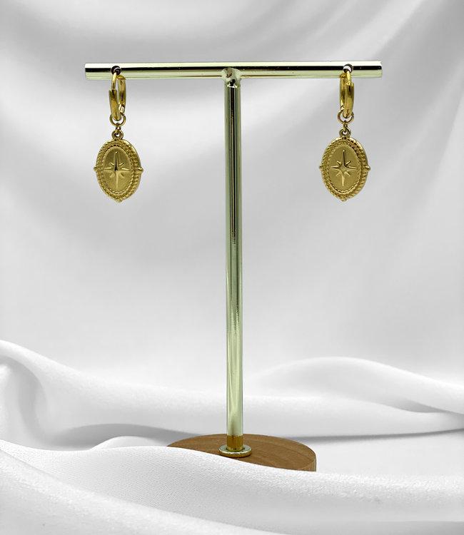 Amulet earrings gold