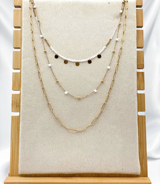 Triple necklace white