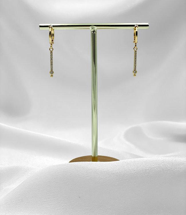 Rhinestones bar earrings gold