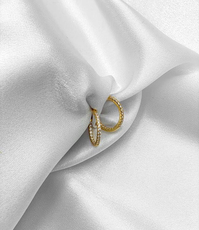 Rhinestone hoop earrings gold