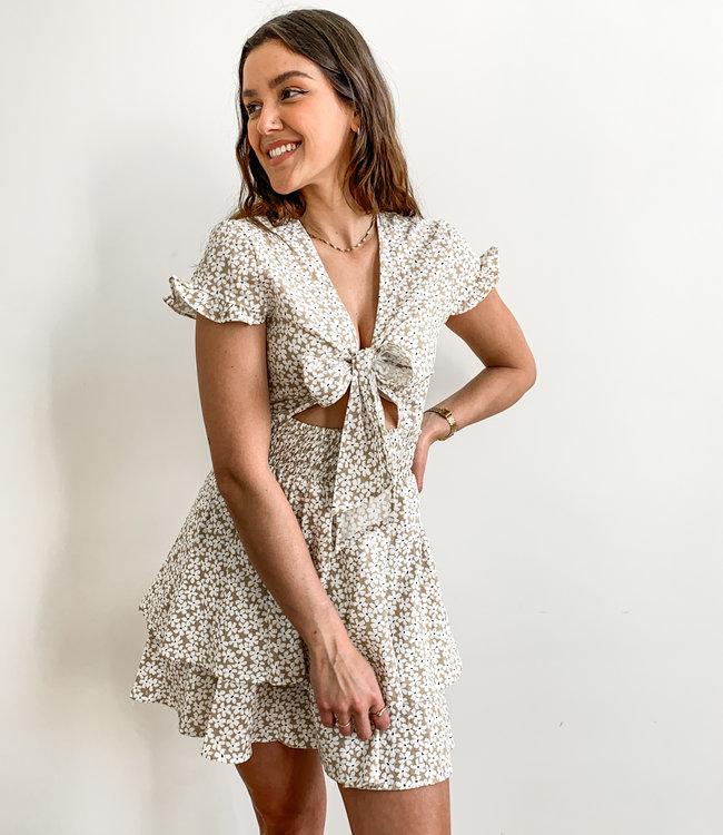 Flower bow dress beige