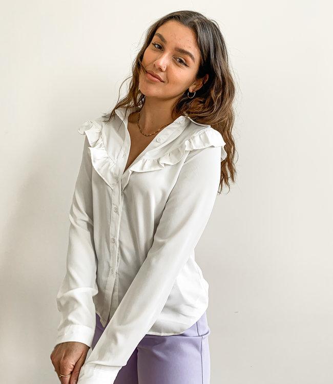 Ruffle blouse white