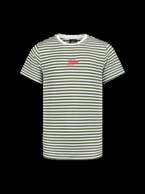 Malelions Junior Junior T-shirt Striped - Army
