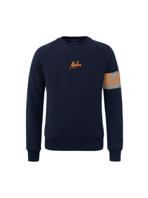 Malelions Crewneck Captain - Navy/Neon Orange