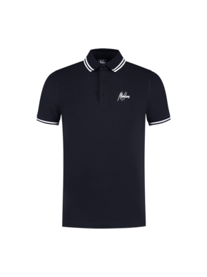 Malelions Striped Polo - Navy/White